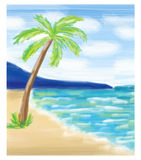 Palm tree at the sea coast and the sea. Royalty Free Stock Images