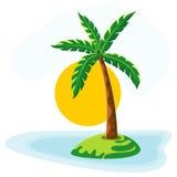 Palm tree sea sun and sky Stock Image