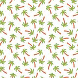 Palm tree, seamless pattern on white isolated background. Vector illustration. Stock Photos