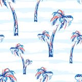 Palm tree seamless vector pattern background with palm trees. Tropic summer design with stripes. Palm tree seamless vector pattern background with palm trees stock illustration