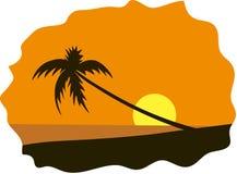 Palm tree on seaside. Summer holidays background. Seaside View Poster. Vector beach resort wallpaper illustration Stock Photo