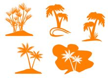 Palm tree set Stock Photo