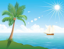 Palm tree and a ship. Stock Photo