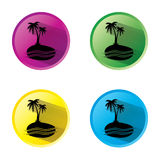 Palm Tree sign icon. Travel trip symbol. Circle buttons with long shadow. 4 icons set. Stock Photography