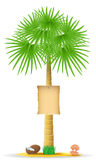 Palm tree with a sign vector illustration Royalty Free Stock Photos