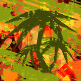 Palm tree silhouette on summer bright background. Royalty Free Stock Image