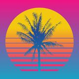 Palm tree silhouettes on a gradient background sunset. Style of the 80`s and 90`s, web-punk, vaporwave, kitsch. Palm tree silhouettes on a gradient background Stock Illustration