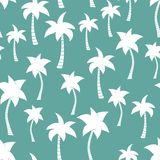 Palm tree silhouettes seamless vector pattern teal stock illustration