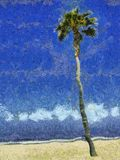 Palm Tree & Sky Painting Royalty Free Stock Photo