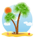 Palm tree stands on the sand vector illustration Royalty Free Stock Images