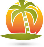 Palm tree and sun, turism and travel logo Royalty Free Stock Image