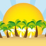 Palm tree and sun vector Stock Image