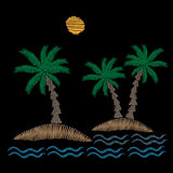 Palm tree with sun and wave embroidery stitches imitation Royalty Free Stock Image