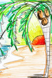Palm tree and sunset drawing. Drawing of a coconut palm tree on a beach at sunset Stock Images