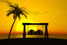 Palm Tree, Sunset, and Swing Stock Photos