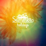 Palm Tree Sunset typography poster. Stock Images