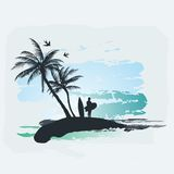 Palm tree Surf Stock Image