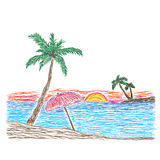 Palm tree on a tropical beach, sketch, vector illustration Stock Photos