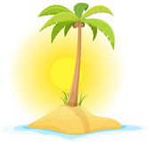 Palm Tree On Tropical Desert Island. Illustration of a cartoon piece of sand in tropical ocean background with palm tree, coconut, and little desert island beach Royalty Free Stock Photography