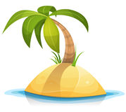 Palm Tree On Tropical Desert Island. Illustration of a cartoon tropical palm tree or coconut on little desert island beach Royalty Free Stock Image