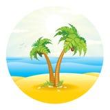 Palm Tree on the Tropical Island. Vector Stock Photos