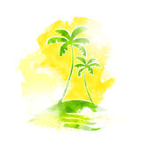 Palm Tree Tropical Island Water Grunge Color. Summer Vacation Vintage Vector Illustration Royalty Free Stock Photography