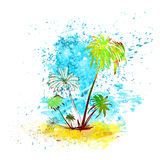 Palm Tree Tropical Island Water Splash Paint. Grunge Color Summer Vacation Vintage Vector Illustration Stock Image