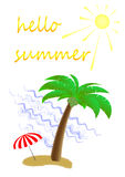 Palm tree and umbrella on a sandy island in the sea, postcard, vertical.  Royalty Free Stock Photography