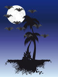 Palm tree under moon Royalty Free Stock Image