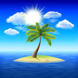 Palm tree on uninhabited island vector background Royalty Free Stock Photo