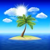 Palm tree on uninhabited island vector background. Palm tree on uninhabited island in the ocean vector background Royalty Free Stock Photo