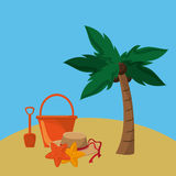 Palm tree with vacation travel icons image. Flat design palm tree with vacation travel icons image vector illustration Royalty Free Stock Photo