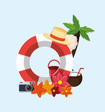 Palm tree with vacation travel icons image. Flat design palm tree with vacation travel icons image vector illustration Royalty Free Stock Images