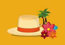 Palm tree with vacation travel icons image. Flat design palm tree with vacation travel icons image vector illustration Royalty Free Stock Photos