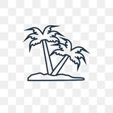 Palm tree vector icon isolated on transparent background, linear