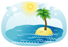 Palm-tree,vector illustration. Palm-tree on an island in the ocean,vector illustration Stock Image