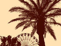 Palm tree in a water park Stock Photography