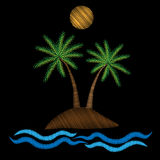 Palm tree with water wave and sun embroidery stitches imitation Royalty Free Stock Photos