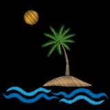 Palm tree with water wave and sun embroidery stitches imitation Royalty Free Stock Images
