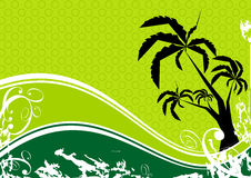 Palm tree and wave. Graphic illustration of a palm tree and green waves in a grunge style Royalty Free Stock Photography