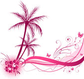 Palm tree with wave design Stock Photo
