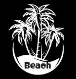Palm tree and waves of a night beach. vector illustration Stock Photo