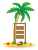 Palm tree and wooden pointer board icons vector il Royalty Free Stock Photo