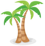 Palm trees. Illustration of isolated palm trees with coconut on white background Stock Images