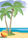 Palm trees. And a ball on a beach Stock Image