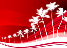 Palm trees on abstract red background Royalty Free Stock Photos