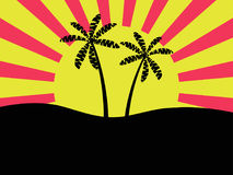 Palm trees against the background of the sun. Dawn, bright banner. Vector Stock Images
