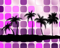 Palm trees against squares Royalty Free Stock Photos