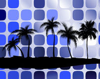 Palm trees against squares Royalty Free Stock Photography