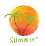 Palm trees against the watercolor sun. Vector logo Stock Photos